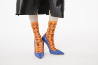 CHECK  JACQUARD SOCKS<br>ORANGE