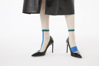ASIMETRIC LINED SHEER SOCKS<br>GREEN×BLUE