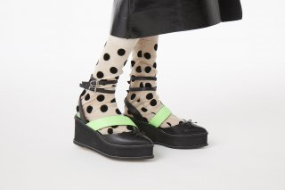 POLKA DOT SHEER SOCKS<br>BEIGE