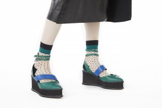 LINED POLKA DOT SHEER SOCKS<br>BLACK×GREEN