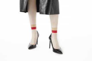 LINED POLKA DOT SHEER SOCKS<br>BEIGE×RED