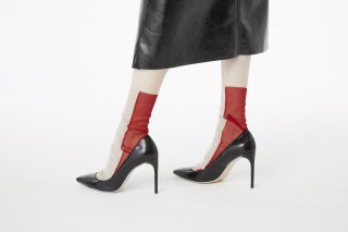<b><font color='red'>RESTOCK</font></b>2TONE SHEER SOCKS<br>BEIGE×RED