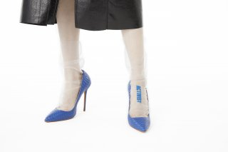 EMBROIDERY MESSAGE SHEER SOCKS<br>WHITE