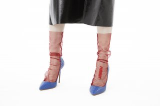 EMBROIDERY MESSAGE SHEER SOCKS<br>RED