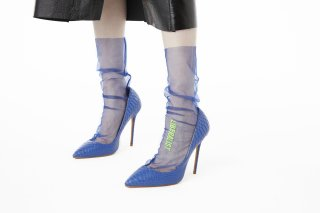 EMBROIDERY MESSAGE SHEER SOCKS<br>BLUE