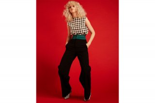 【FLEI】HI-WAIST WIDE PANTS<br>BLACK×GREEN<img class='new_mark_img2' src='https://img.shop-pro.jp/img/new/icons20.gif' style='border:none;display:inline;margin:0px;padding:0px;width:auto;' />