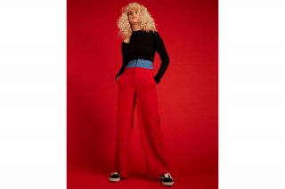 【FLEI】HI-WAIST WIDE PANTS<br>RED×BLUE<img class='new_mark_img2' src='https://img.shop-pro.jp/img/new/icons20.gif' style='border:none;display:inline;margin:0px;padding:0px;width:auto;' />