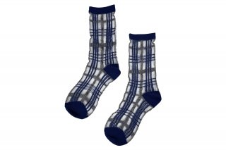 <b><font color='red'>NEW</font></b><br>SEE-THROUGH CHECK SC<br>SILVER×NAVYの商品画像