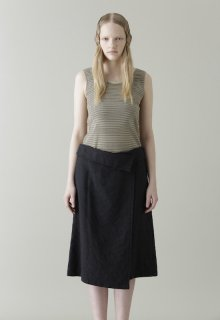 washed linen wool skirt