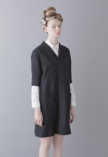checked gabardine one-piece