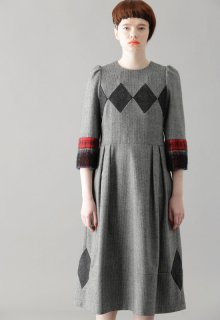rhombus tweed one-piece
