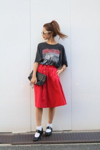 front botão skirt