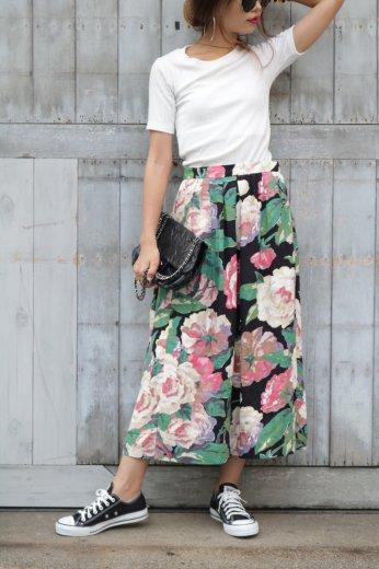 flower wool mix skirt