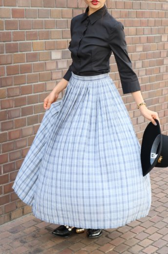 【vintage】check pattern pleats skirt