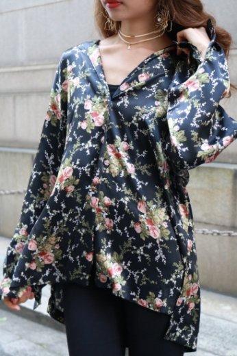【vintage】rose design satin shirt