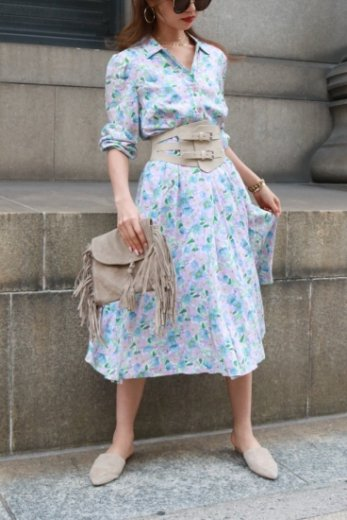 【vintage】open collar pastel color flower pattern flare dress