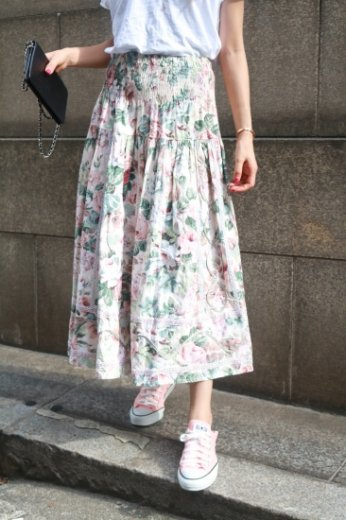 rose lamé ribbon design cotton skirt