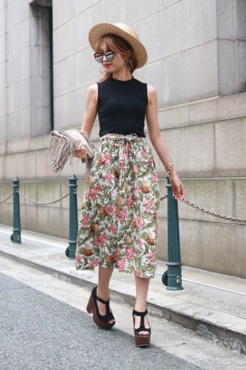 tropical pattern cotton skirt