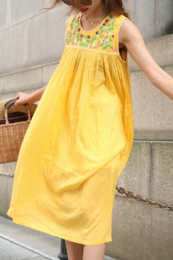 embroidery flower cotton dress