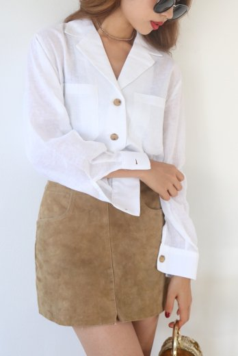 【Lily of the valley】2way ribbon jacket shirt / white