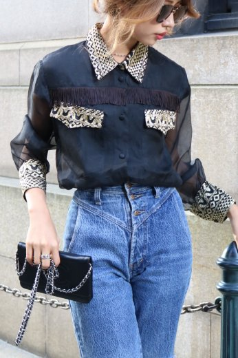 80's fringe see-through blouse