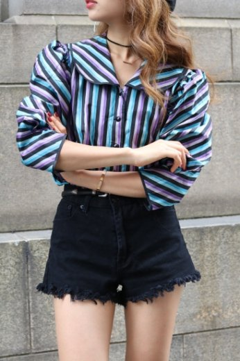 stripe round collar blouse