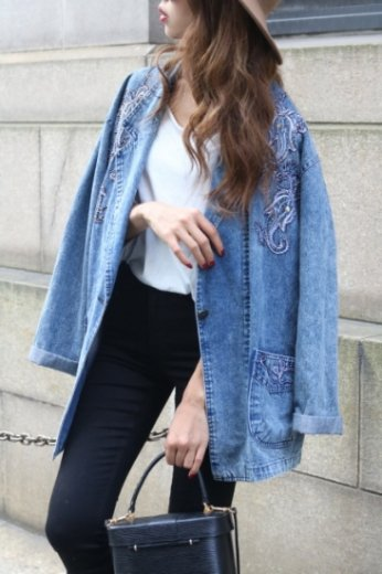 80's embroidery denim jacket