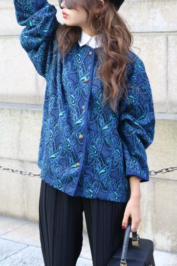 paisley pattern piping cardigan