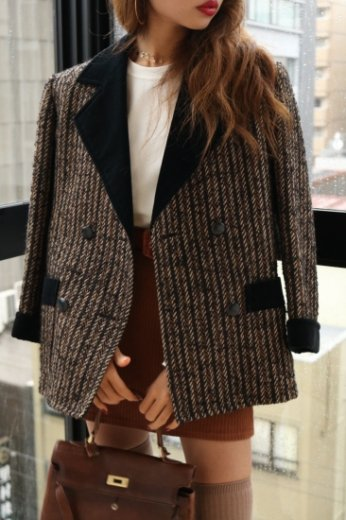 Yves Saint Laurent / velvet tweed wool jacket