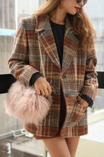 Yves Saint Laurent / check wool jacket
