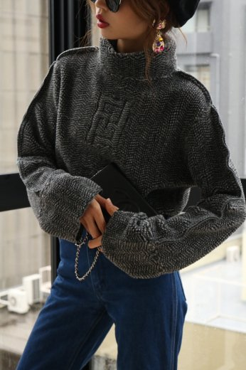 FENDI / logo boa turtle neck knit