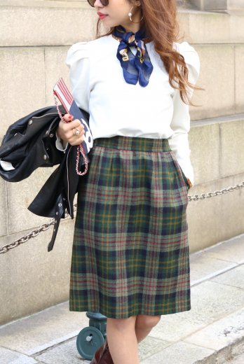 Yves Saint Laurent / check wool skirt