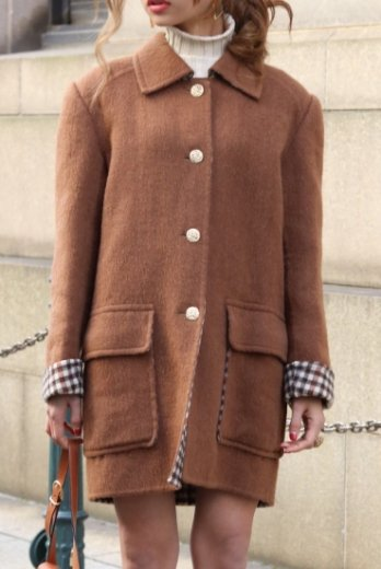 Yves Saint Laurent / check pattern wool coat
