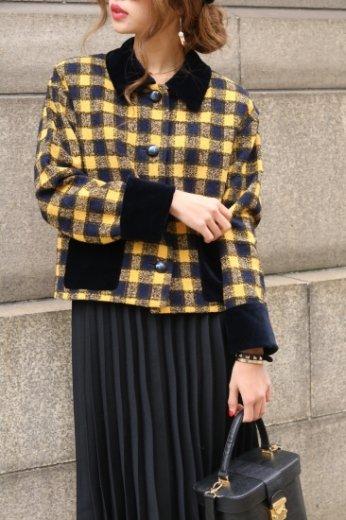 GIVENCHY / velvet check retro jacket