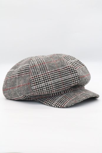 check pattern wool casquette