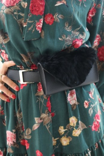 【Lily of the valley】3way fur waist bag / black
