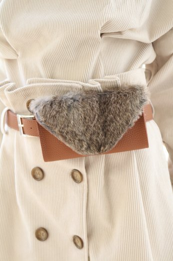 <img class='new_mark_img1' src='//img.shop-pro.jp/img/new/icons14.gif' style='border:none;display:inline;margin:0px;padding:0px;width:auto;' />【Lily of the valley】3way fur waist bag / brown