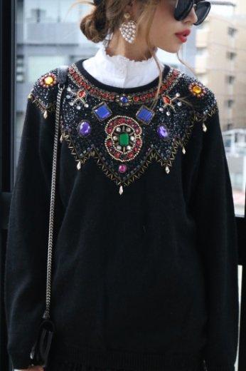 【vintage】80's bijou knit tops