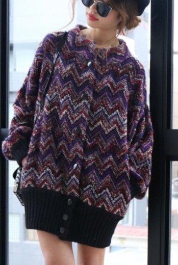 【vintage】2way mix color lib knit cardigan