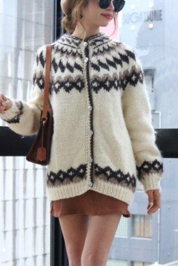 【vintage】silver botão wool cardigan
