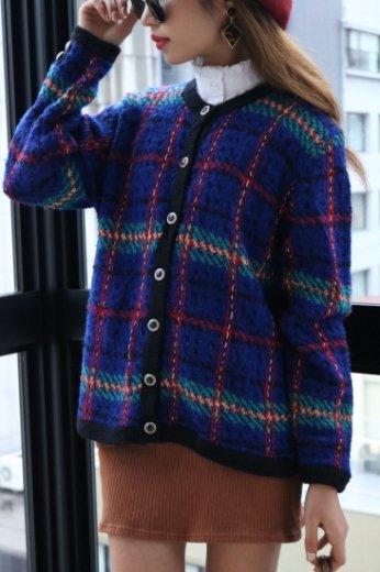 【vintage】check pattern retro cardigan