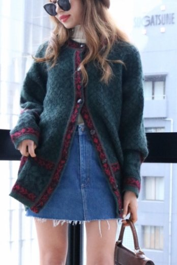 【vintage】moss green edge design cardigan