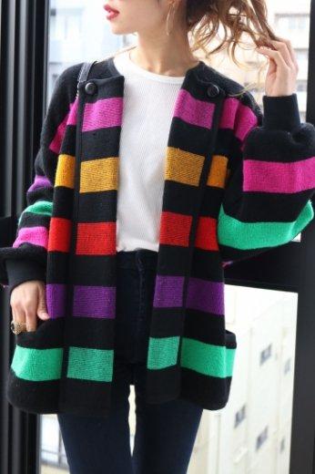 【vintage】2way colorful pile cardigan