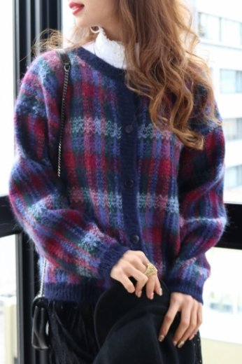 【vintage】check pattern mohair mix cardigan