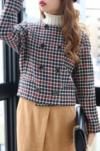 【vintage】check pattern no collar jacket