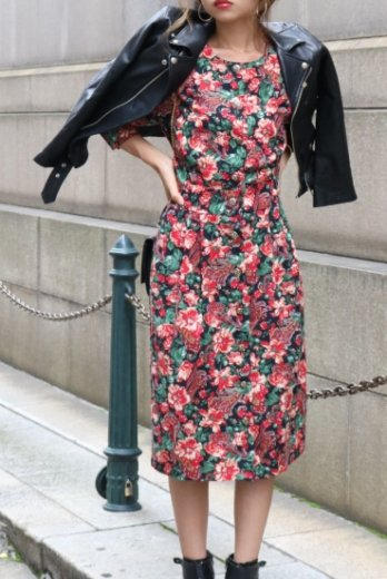 【vintage】paisley&flower pattern silver button retro flare dress