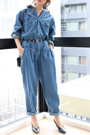 【vintage】studs denim all in one