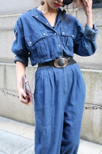 【vintage】 stand collar denim all in one