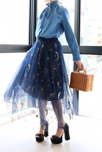 pegasus design tulle skirt / navy