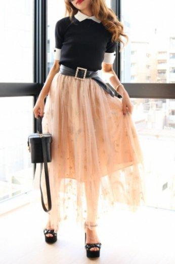 pegasus design tulle skirt / pink beige
